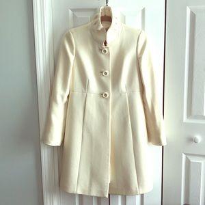 J. Crew white ivory Sybil coat 2 wool ruffle xs